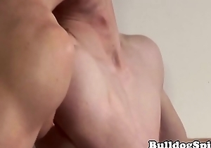 Uncut wrestle twink cumcovered after buttfuck