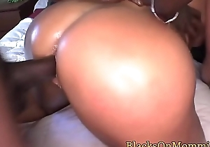 Busty interracial MILF creampied in foursome