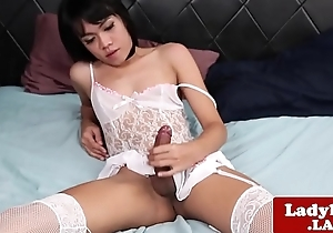 Glam ladyboy wanking her cock until she cums