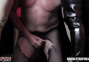 Femdoms strapon face fuck sissy cum battle-axe