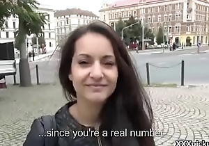 Tourist get his dick sucked by sexy amateur euro slut for money in public 20