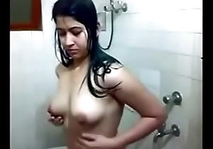 desi girl in bathroom identically her boobs for bf