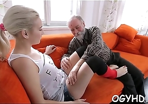 Young girl gives a blow to old dick