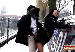 German Milf riding BBC at hand public at hand the snow of Berlin