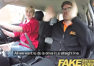 Fake Driving School Students squirting shaven pussy acquires spunked on