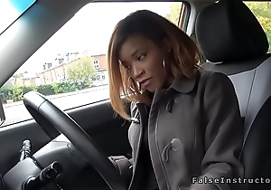 Bad ebony driver bangs her instructor