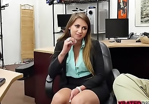 Desperate blonde babe Ivy Scallop fucks pawnman for cash
