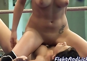 Pussylicking babes toying in a boxing ring
