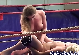 Amateur lesbians scissoring in a boxing ring