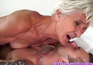 Cockriding granny sucking younger dick