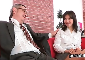 Innocent university girl gets enticed and drilled by her senior schoolteacher